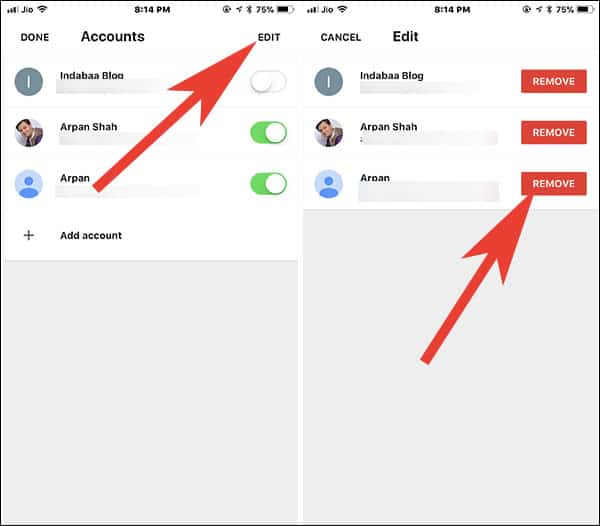 Tap on Edit and then tap on remove to completely delete Mail Account from Gmail App on iPhone and iPad