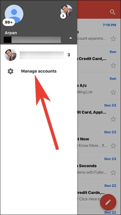 Tap on Manage Account in Gmail App on iPhone and iPad