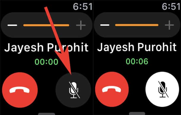 Tap on Mute Button on Apple Watch