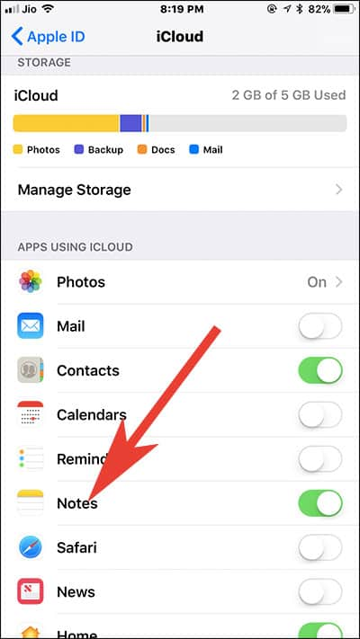 Tap on Notes Under icloud on iPhone