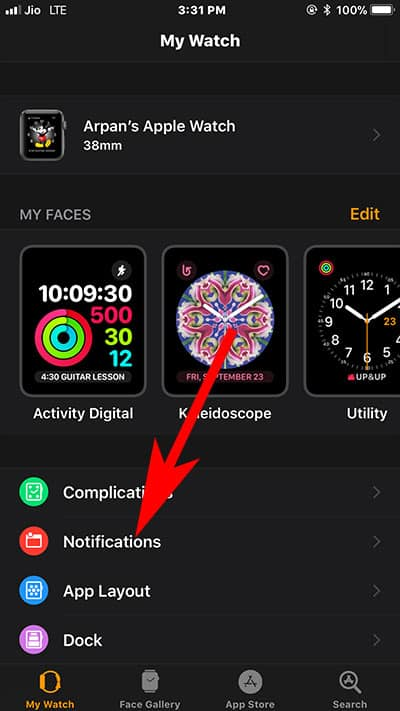Tap on Notification in Watch App on iPhone