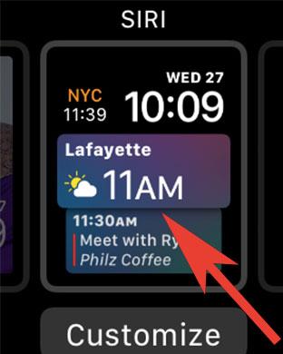 Tap on Siri Watch Face on Apple Watch