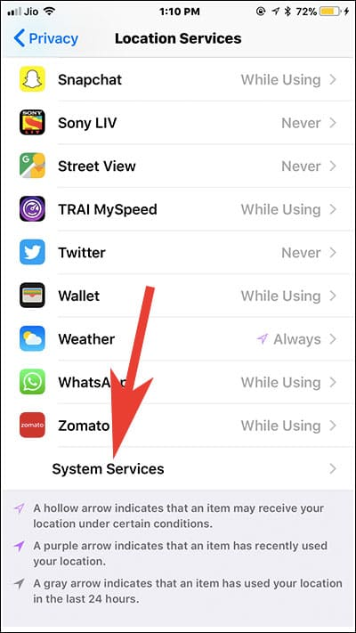 Tap on System Services on iPhone