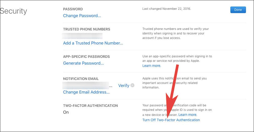 Tap on Turn Off Two Factor Authentication in Appleid.apple.com
