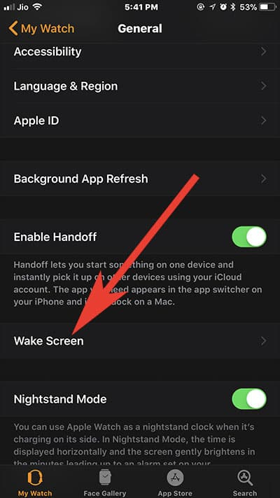 Tap on Wake Screen in Watch App on iPhone