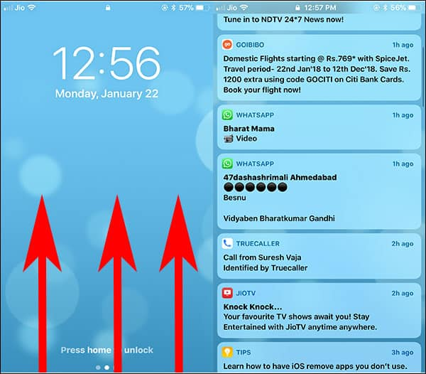 Access Notification Center on iPhone and iPad