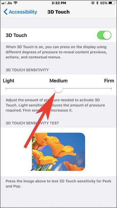 Adjust 3D Touch Sensitivity on iPhone