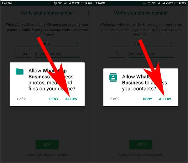 Allow Media and Contacts to Acess for WhatsApp for Business App