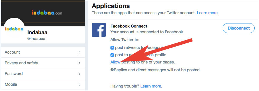 Allow Twitter to Post on Facebook Page