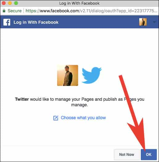 Allow twitter to manage and publish post on Facebook Pages