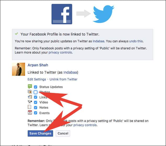 Change Sharing Settings for Twitter in Facebook