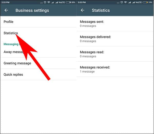 Check Statistics of Messages in WhatsApp for Business App on Android