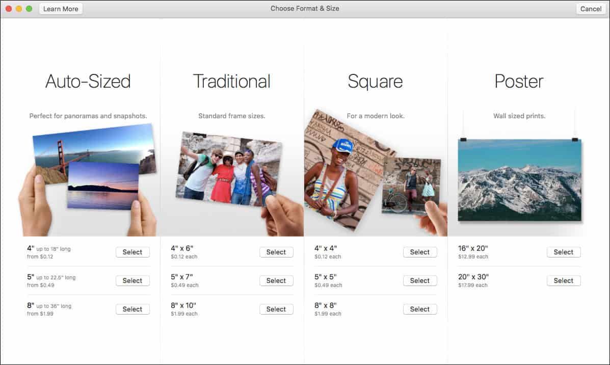 Choose Options to Order Photo Prints from Mac