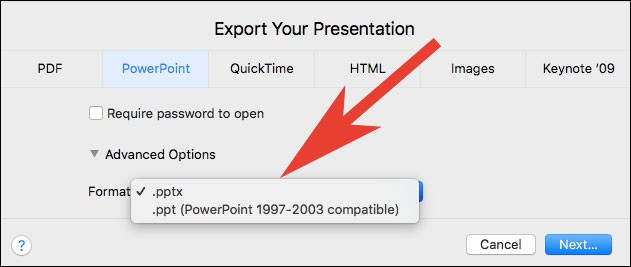 Choose Powerpoint file format in Keynote on Mac