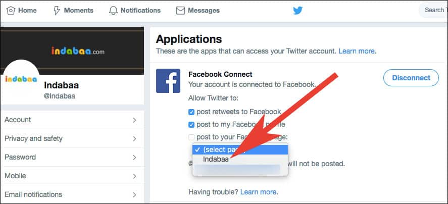 Choose a Facebook Page you want to link with Twitter Account