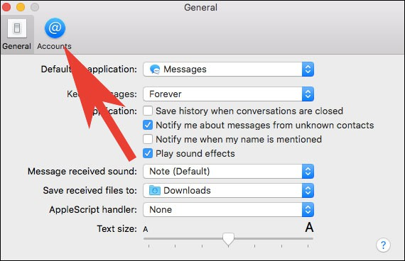 Click on Accounts Tab in iMessage on Mac