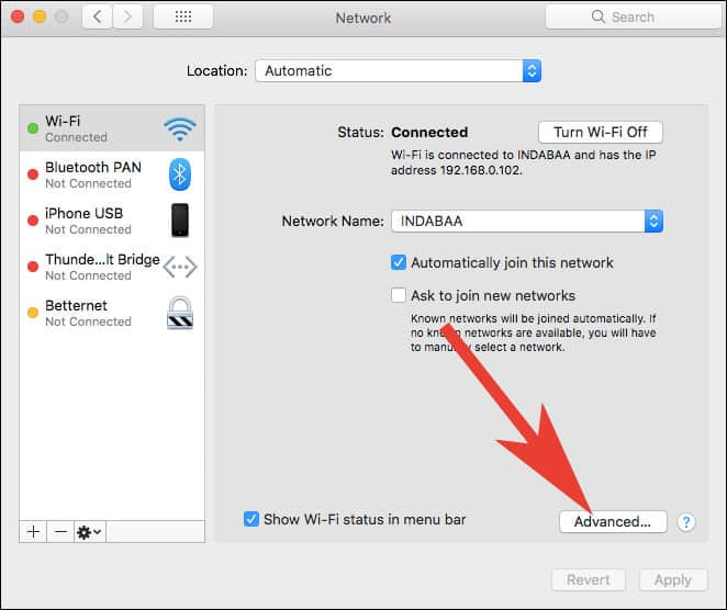 Click on Advanced in Network Settings on Mac