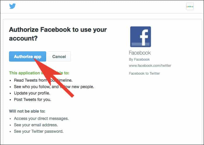 Click on Authorize App to link Facebook Page with Twitter Account