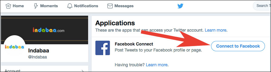 Click on Connect to Facebook in Twitter Account