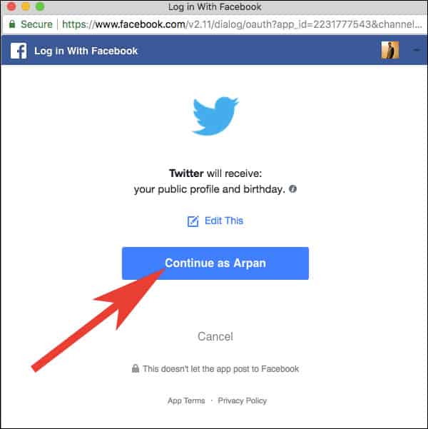 Click on Continue to Allow Twitter to Access your Facebook Info