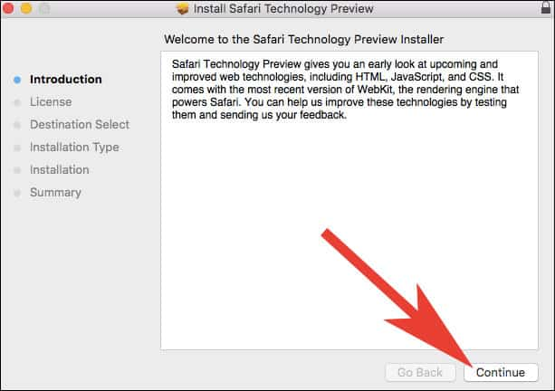 Click on Continue to Go ahead with Safari Technology Preview Installation Process