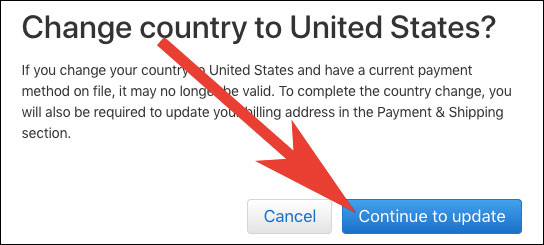 Click on Continue to Update iOS App Store Country Region