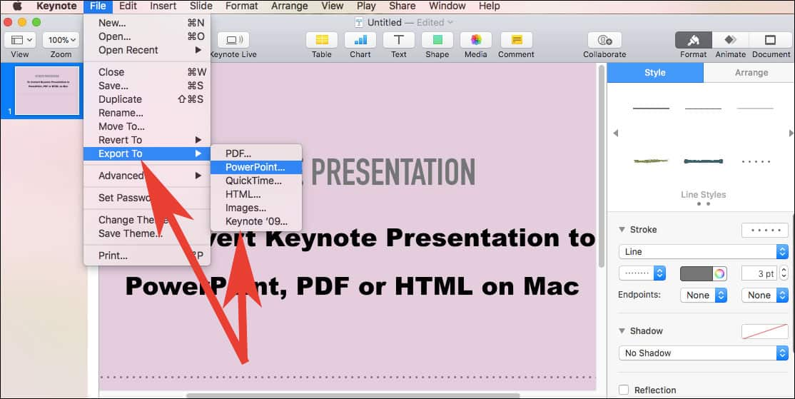 Click on Export and Choose File Format on Mac