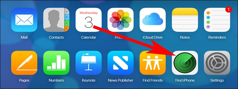 Click on Find My iPhone in iCloud.com