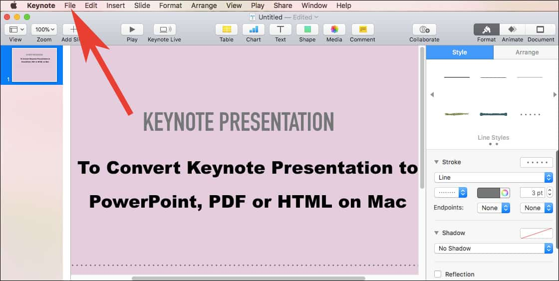 Click on Keynote File Menu on Mac