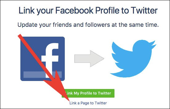 Click on Link a page to Twitter in Facebook
