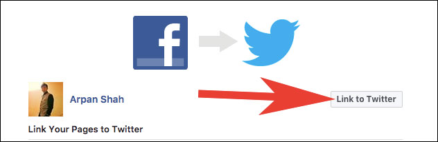 Click on Link to Twitter on Facebook