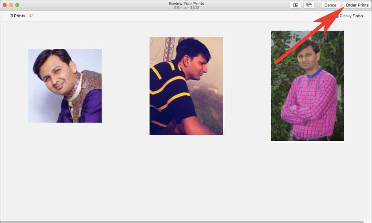 Click on Order Prints in Photos App on Mac