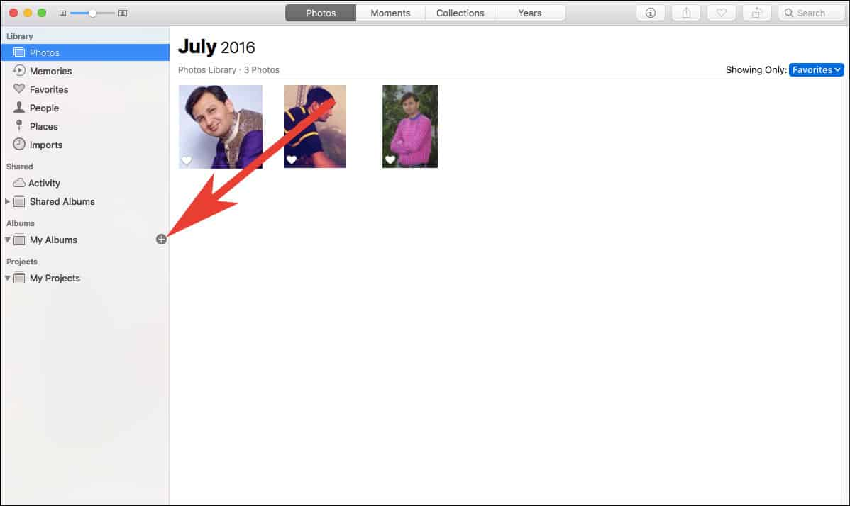 Click on Plus Button in Photos App to Add Project on Mac