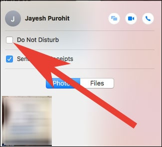 Do Not Disturb for this Message Conversation on Mac