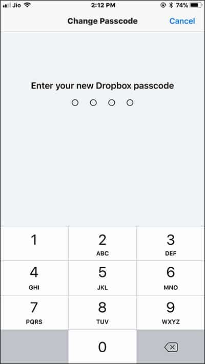 Enter your New Dropbox App Passcode on iPhone and iPad