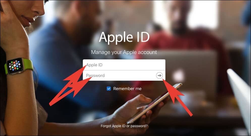 Open Apple ID Account Page on your Browser