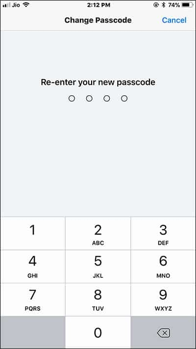 Re-Enter your New Passcode on iPhone and iPad