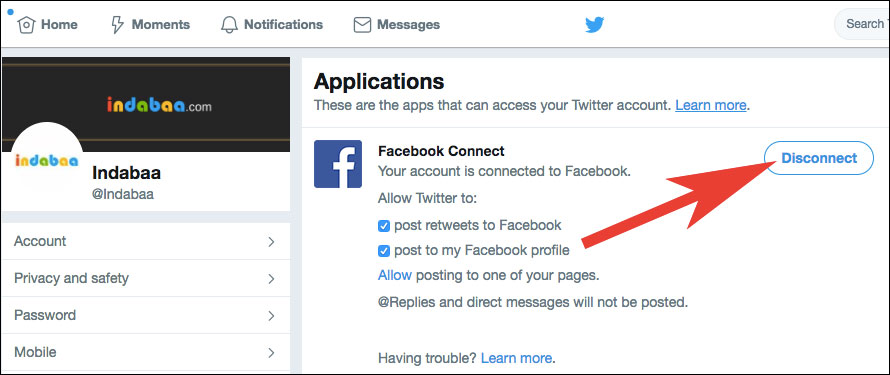 Revoke Facebook Access from Twitter
