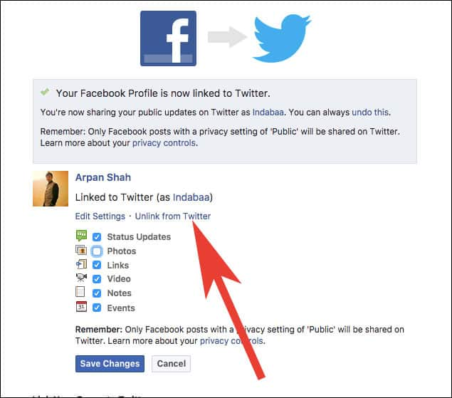 Revoke Twitter Access from Facebook