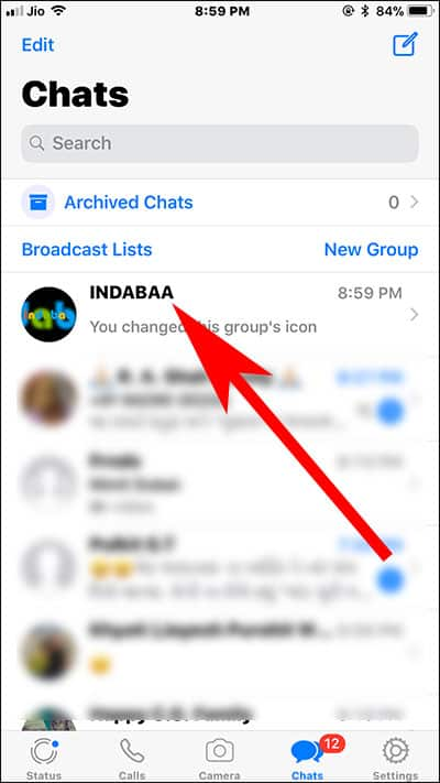 Select WhatsApp Chat on your iPhone