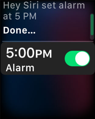 Set Alarm Using Siri on Apple Watch