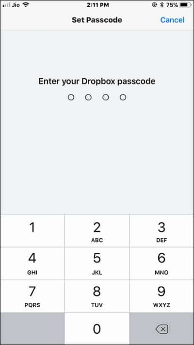 Set Dropbox Password on iPhone and iPad