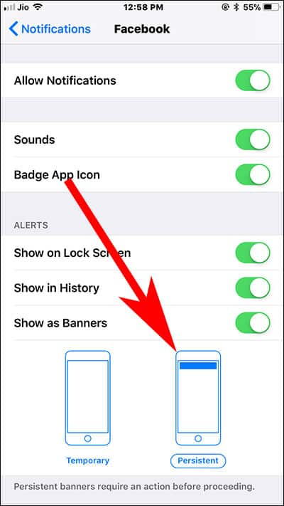 Set Persistent App Notifications on iPhone and iPad