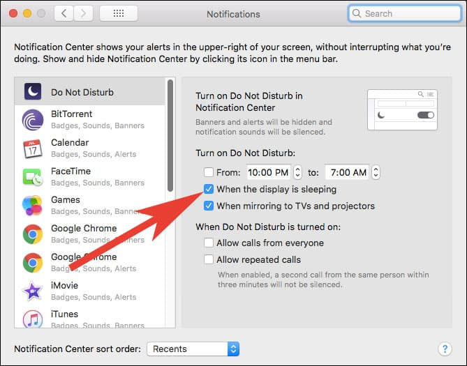 Stop Enhanced Notifications from Waking Mac from Sleep