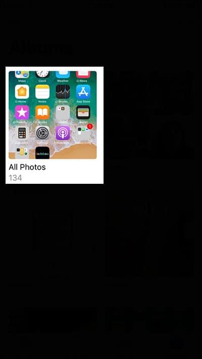 Tap on Album in iPhone Photos App