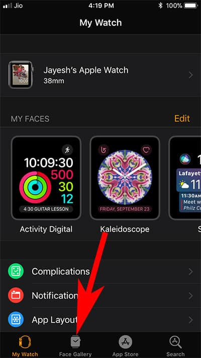 Tap on Face Gallery in Watch App on iPhon
