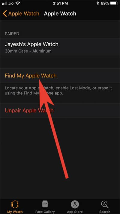 Tap on Find My Apple Watch to check activation lock status