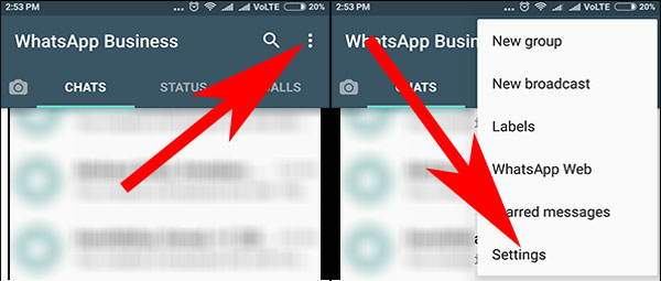 Tap on Menu and Select Setting in WhatsApp for Business App on Android