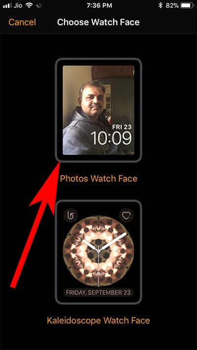 Tap on Photos Watch Face