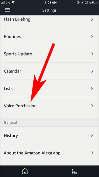 Tap on Voice Purchasing button in Alexa App on iPhone and Android Phones